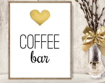Coffee Bar Sign // Watercolor Wedding Coffee Sign DIY // Gold Heart, Watercolor Heart Sign, Printable PDF Poster ▷ Instant Download