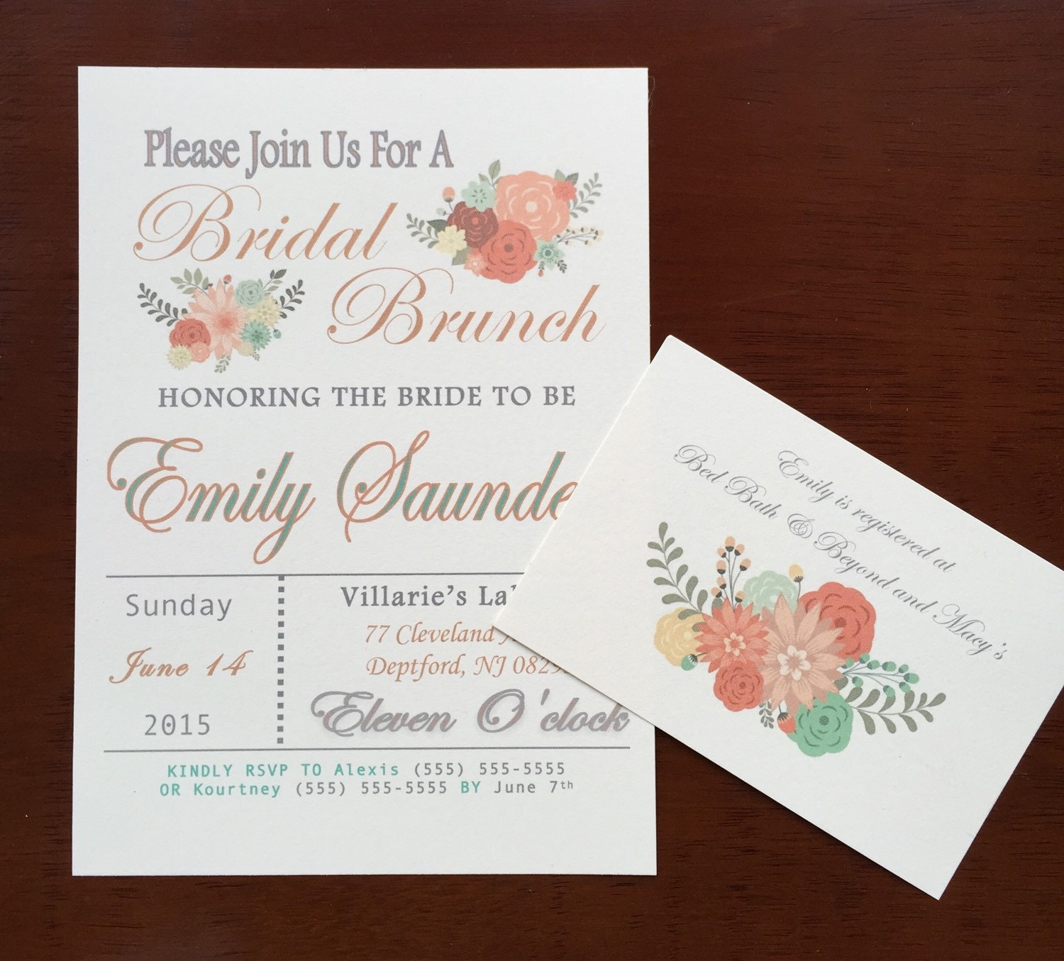 Bridal brunch bridal shower invitation for Wedding brunch invitations