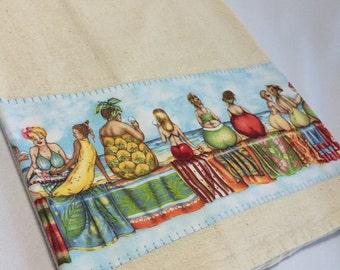 Beach Girls Fruit Ladies Floursack Towel  28x28~