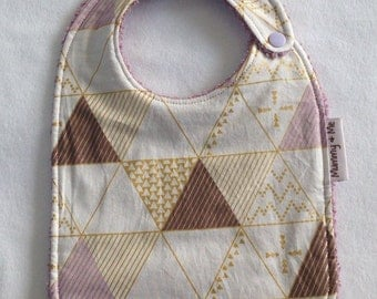 "The ""Lilac and Gold Geo"" Bib / bandana bibs / gold / purple / brown / deer / stag / timberland / geometric / forest / spots / triangles"