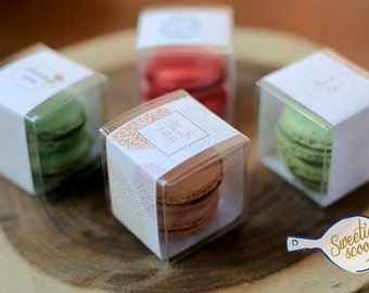 30 French Macaron Wedding or Shower Favors - set of 30 clear box and 60 macarons