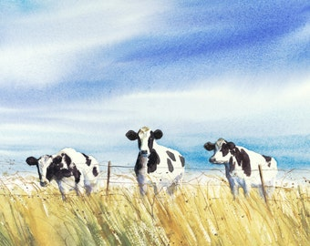 cow painting, watercolor print, Giclee, 10x10