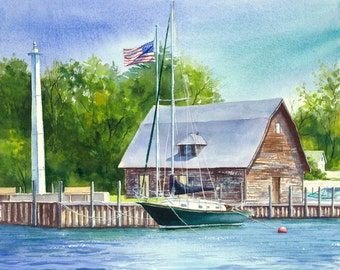 "Sailboat watercolor print ""Anderson Dock"" giclee print 5x5."