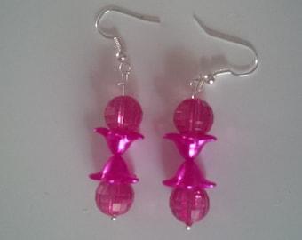 Pink Beaded Earrings   (#264)