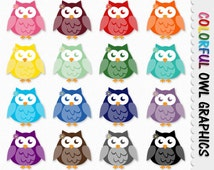 Owl Graphics Cute Owl Clip Art Clipart Scrapbook Graphic Colorful Rainbow Digital Download JPG Transparent PNG Printable Commercial Use