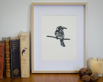 Linocut bird lino print, original art, Honeyeater linoleum print