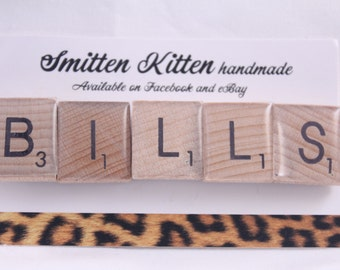 "Fridge magnets- handmade, strong. Scrabble tiles ""bills"". Pack of 5 by Smitten Kitten."