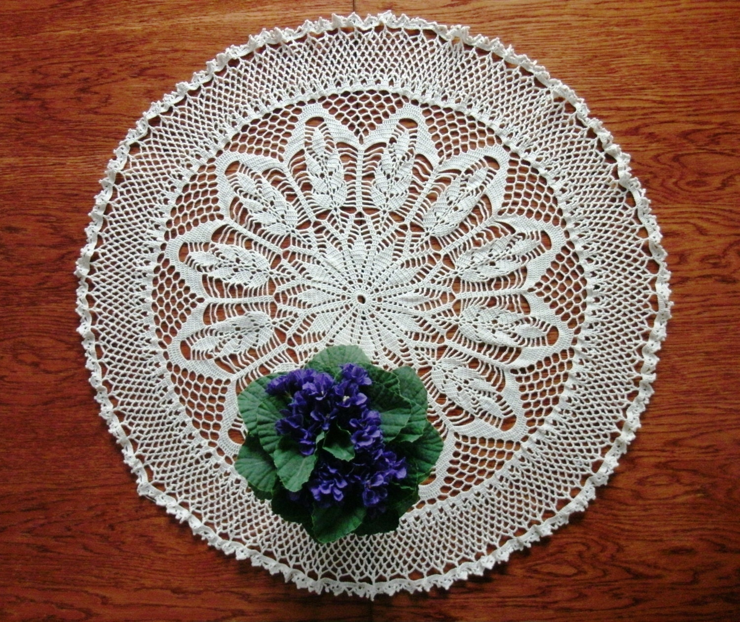 Free Crochet Patterns Round Table Toppers : SALE Round table topper 26 inches Centrepiece Lace crochet