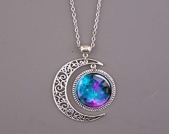 Turquoise Nebula Necklace,Nebula jewelry,Nebula pendant,Galaxy Necklace,Space Pendant,Galaxy Jewelry,Universe Pendant,custom picture pendant