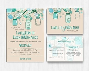 Wedding Invitation, Printed, Mason Jar Wedding Invitation, Teal mint wedding invite, Mason jar, Wedding Invitation, RSVP, rustic wedding