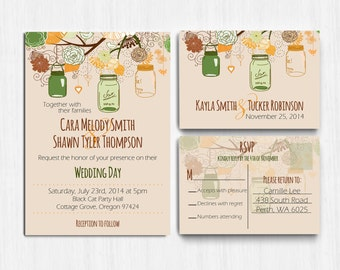 DIGITAL, Autumn Wedding Invitation, Mason jars, Autumn Colors, Printable, wedding invite, Printable Digital file, Wedding Invitation, rustic