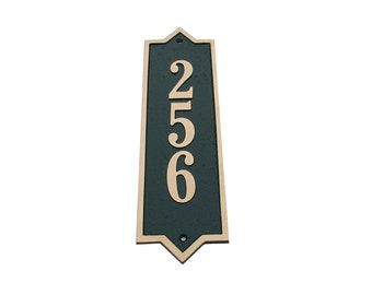 Majestic MFG Aluminum or Brass Vertical Address Plaques House Numbers ** Made in the USA ** ** Free Shipping**