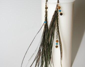 Short asymmetrical Feather Earings