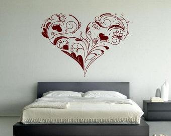 Wall Vinyl Sticker Decals Mural Room Design Heart  Love Romantic bo020