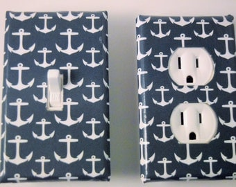 Nautical anchor switch plate decor, beach cottage decor, decortive outlet cover,