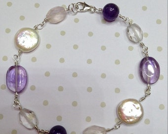 Lilac and Pearl wrapped sterling silver bracelet