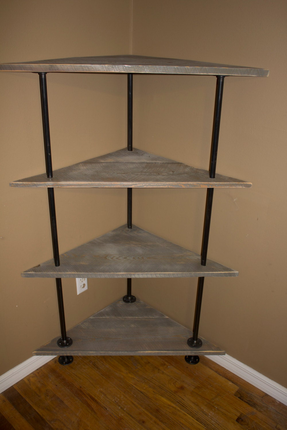 Corner shelving unit shelves reclaimed barn by