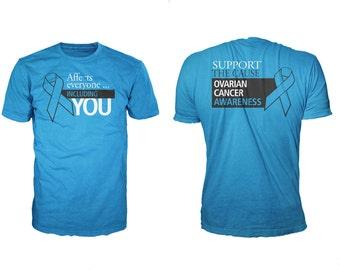 Men OVARIAN CANCER AWARENESS 100% Cotton Gildan Turquoise Short SleeveT-Shirt