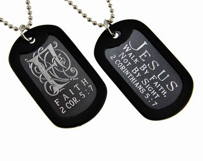 "Dog Tag ""Faith"" Monogram Double Sided Engraved Necklace"