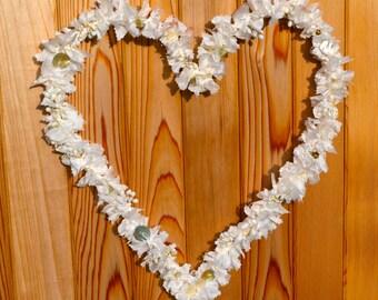 White heart wreath- wedding wreath- home decor