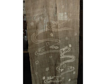 """traditional linen noren, door way curtain. flowers and leaves on water on light brown (WE10-16) 35""""W x 59""""L"""