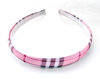 Plaid Headband, Pink Hairband,Hair accessories,Hair Bandana,Girls Bandana,Hair Barrette,Hair Clip,Hair Bows,No Teeth Headband,PinK Accessory