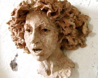 Copy terracotta sculpture head of the goddess Leucotea