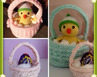 Easter Baskets and Baby Chick knitting pattern
