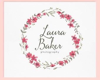 Wreath Logo Design / Premade Logo Design / Watercolor Logo / Photography Logo / Wedding Logo / Business Logo / Photography Watermark