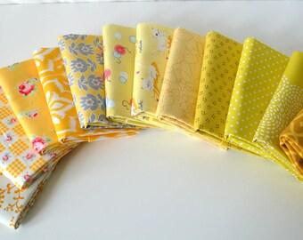 Yellow 12 designer cotton quilt fabric Fat quarter bundle Stash Remix