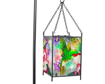 Stained Glass Solar Lantern Garden Stake