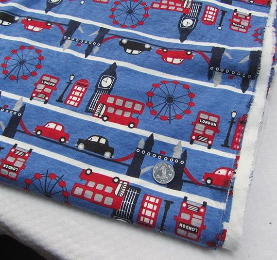 Kids baby print rib knit fabric 100 cotton london 80160 for Knit fabric childrens prints