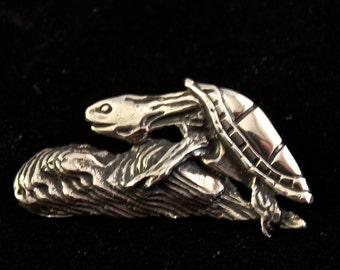 Tortoise Brooch sterling silver