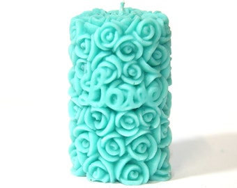 Lotus Scented - Pair of Turquoise Rose Candles