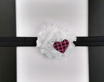 Heart, pink, black, white, polka dot, flower, bow, headband, baby, toddler