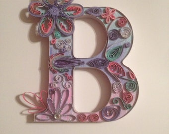 Quilled letter, quilling wall art, paper quilled art, monogram, freestanding letter