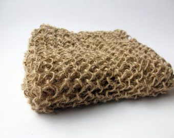Handknit Jute Washcloth / 100% natural materials