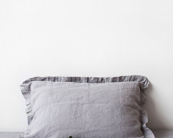 SALE! Light Grey Vintage Stone Washed Linen Pillow Case