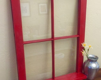 Vintage Window With Sill, Picture Frame, Antique Window Frame, Gorgeous Red!