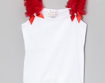 White Tank Top with Red Ruffles