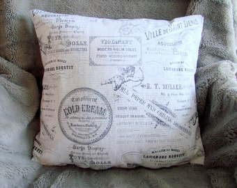 French vintage pillow.  Coordinates well with silver and gray chevron pillow.