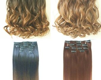 "22"" Full Head Clip in Dip dye Ombre Hair Extensions Synthetic Straight Curly Wavy 6pcs Set"