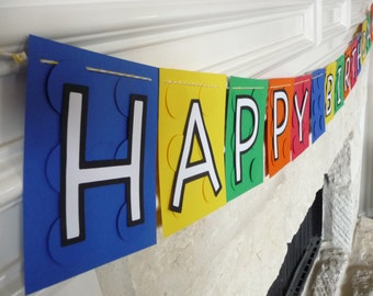 Lego inspired birthday banner (without name!), lego party banner