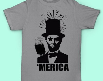 Abe Lincoln With Fireworks and Pet Eagle 'Merica Shirt
