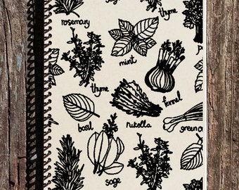 Herb Book - Herb Journal - Kitchen Notebook - Kitchen Journal - Herbs - Recipe Book - Gift for Her