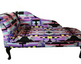 Chaise Longue Chair Geometric Printed Furniture Sofa