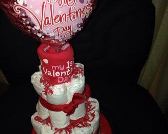 Small Valentines Diaper Cake
