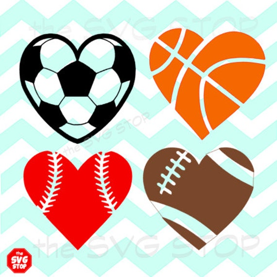 heart football basketball svg soccer silhouette sports clipart shaped clip balls baseball designs cricut vinyl ball listing stop includes different