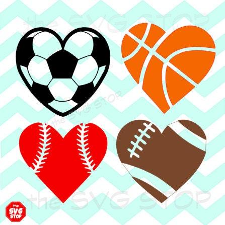 heart basketball football svg soccer sports clipart shaped silhouette clip balls baseball cricut designs ball vinyl listing stop includes different
