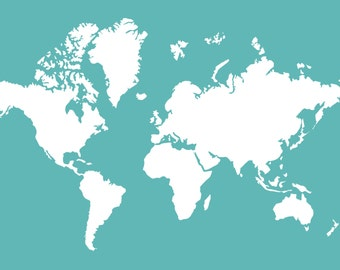 PDF Download Custom World Map Teal and White